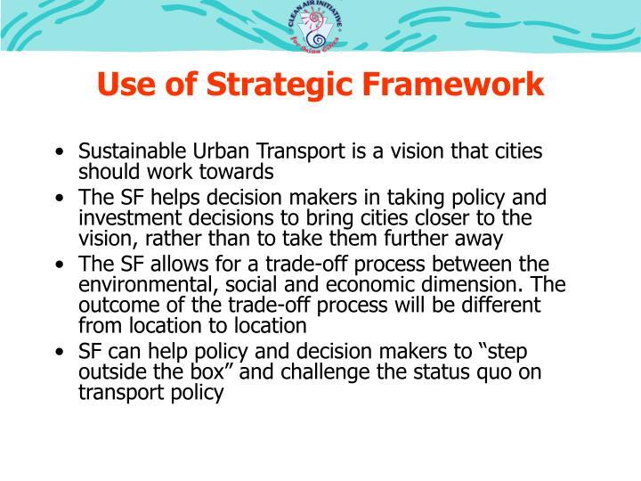 Use of Strategic Framework