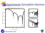 hypersingular formulation spurious