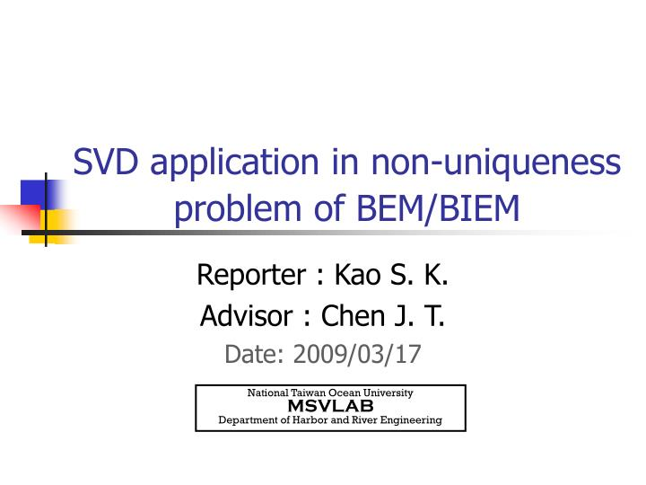 svd application in non uniqueness problem of bem biem