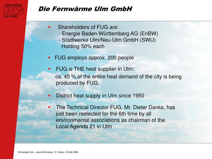 FUG is THE heat supplier in Ulm:
