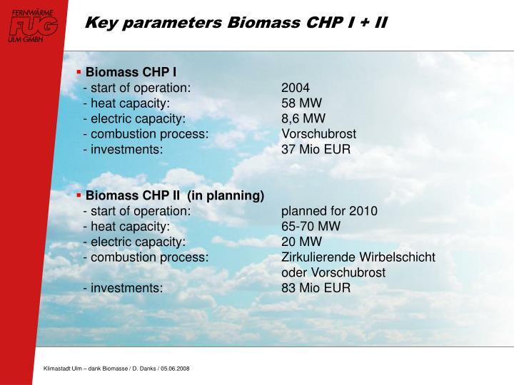 Key parameters Biomass CHP I + II