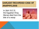 earliest recorded case of anaphylaxis