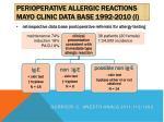 perioperative allergic reactions mayo clinic data base 1992 2010 i