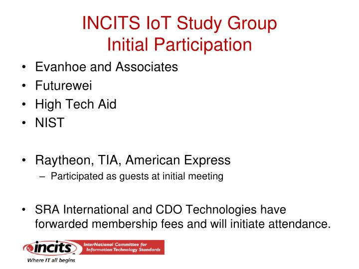 INCITS IoT Study Group