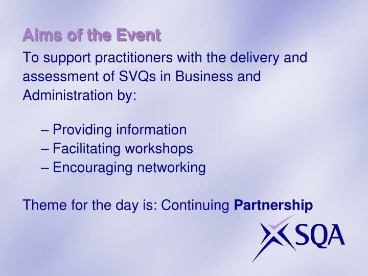 Aims of the event