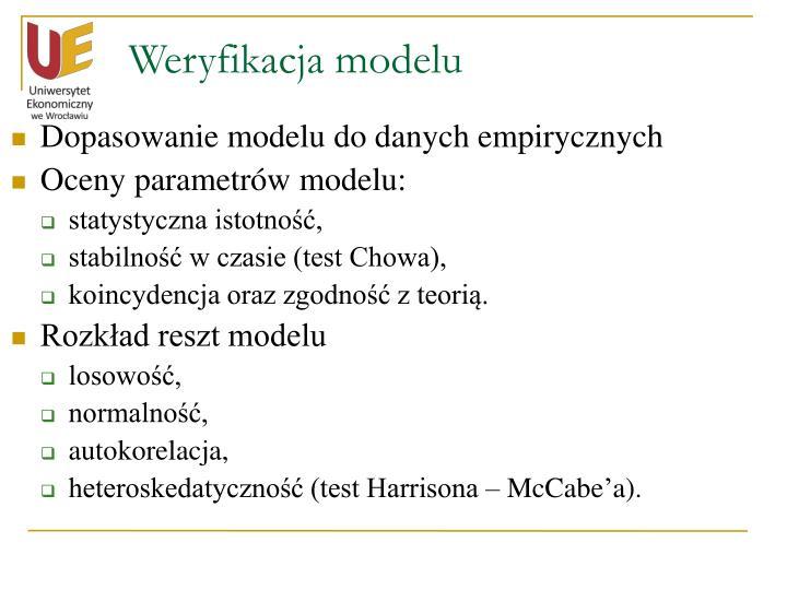 Weryfikacja modelu