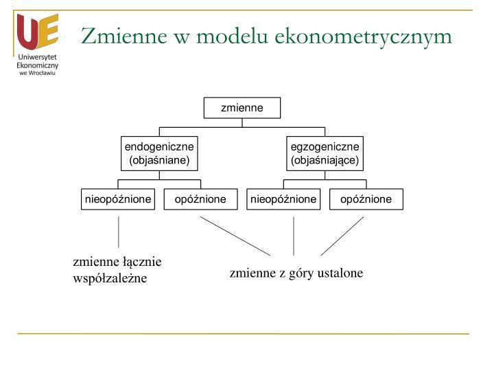 Zmienne w modelu ekonometrycznym
