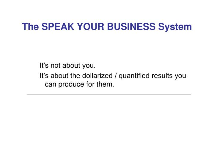The SPEAK YOUR BUSINESS System