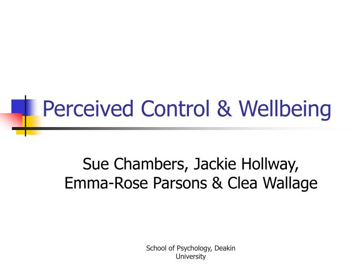 Perceived control wellbeing
