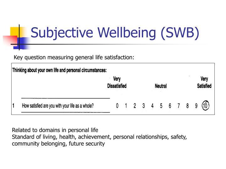 Subjective wellbeing swb