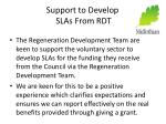 support to develop slas from rdt