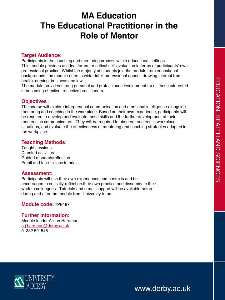 PPT - MA Education The Educational Practitioner in the Role of
