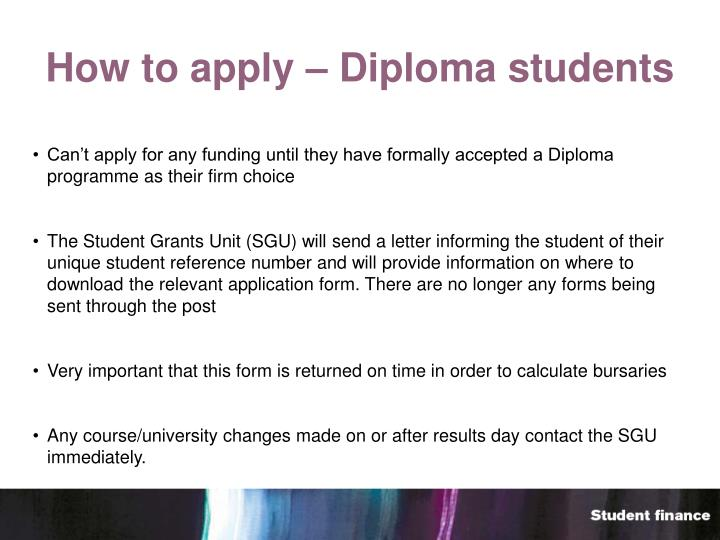How to apply – Diploma students
