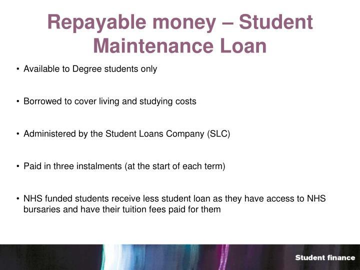 Repayable money – Student Maintenance Loan