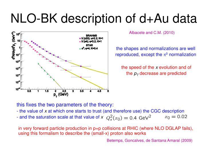 NLO-BK description of d+Au data