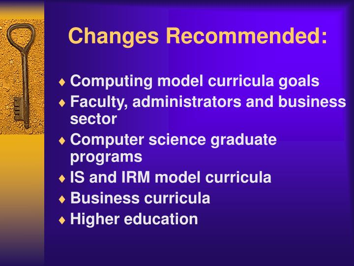 Changes Recommended: