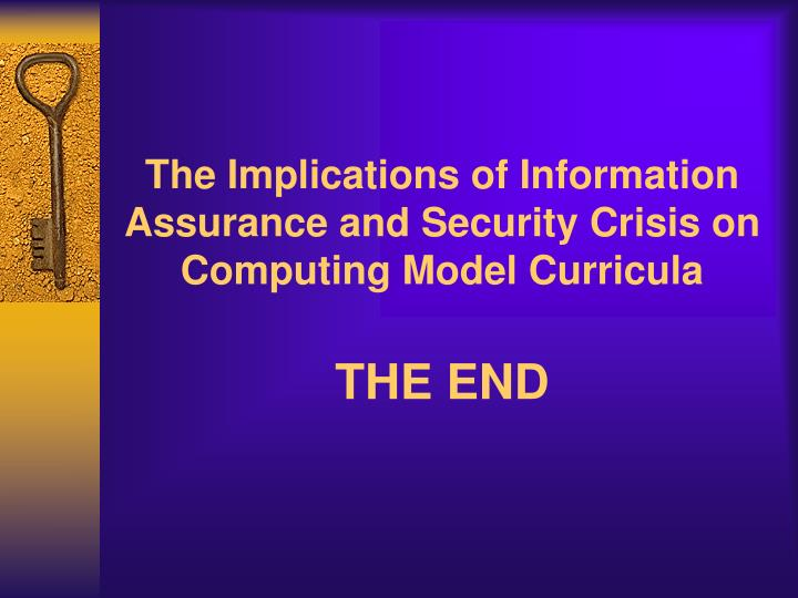 The Implications of Information Assurance and Security Crisis on Computing Model Curricula