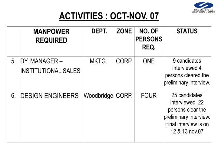 ACTIVITIES : OCT-NOV. 07