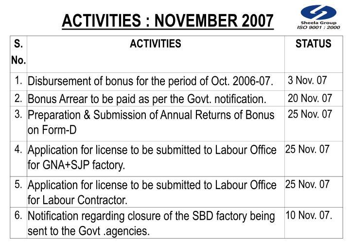 ACTIVITIES : NOVEMBER 2007