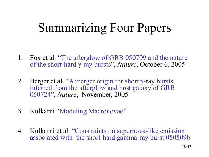 Summarizing Four Papers