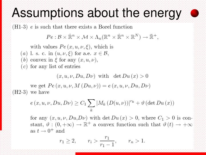 Assumptions about the energy