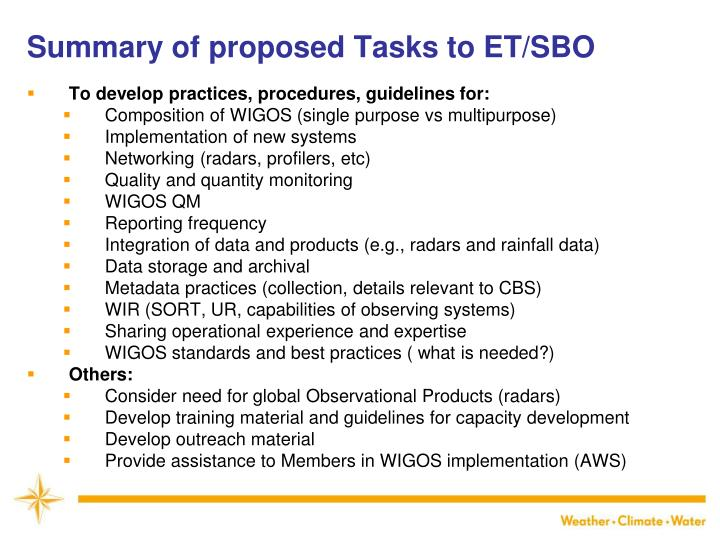 Summary of proposed Tasks to ET/SBO