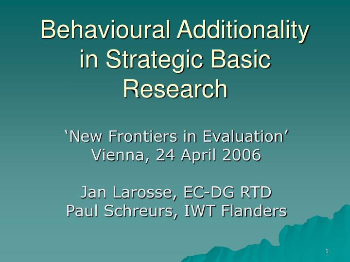 behavioural additionality in strategic basic research n.