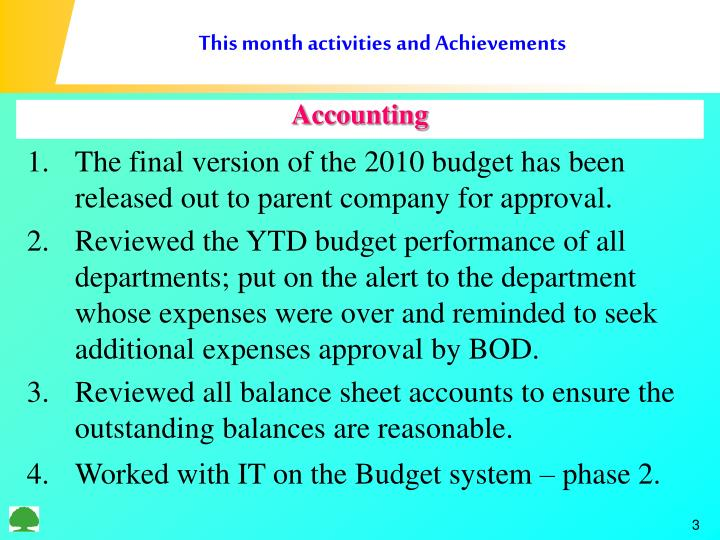 This month activities and achievements