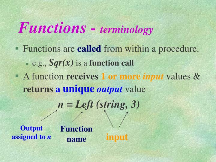 Functions terminology