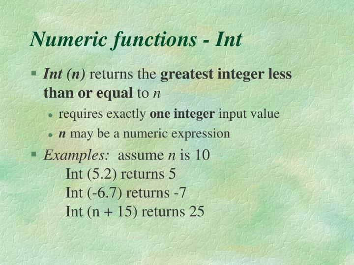 Numeric functions - Int
