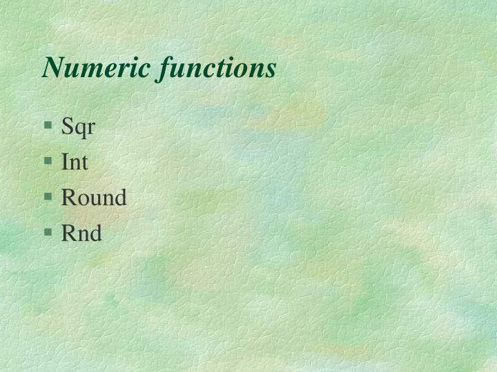 Numeric functions