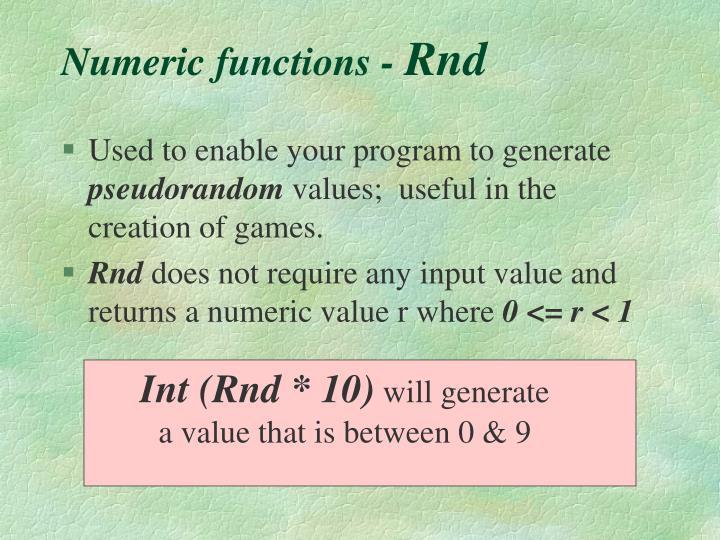Numeric functions -