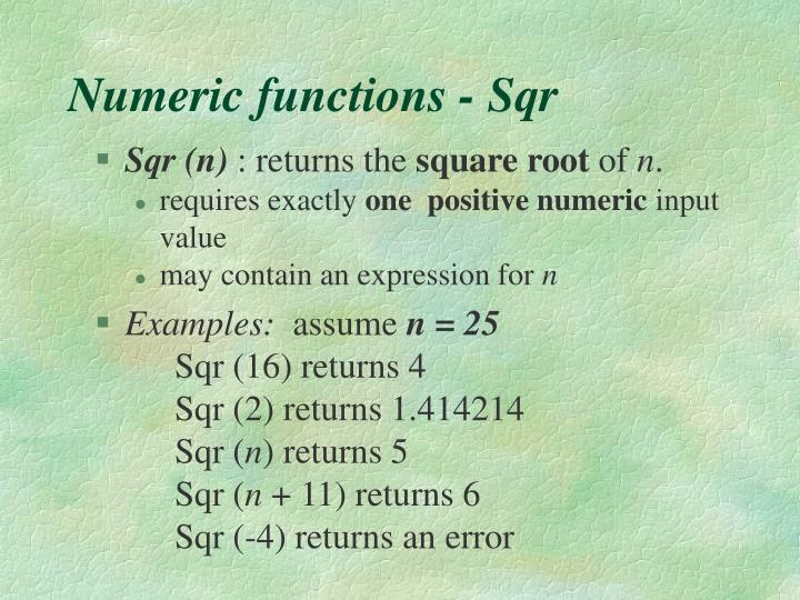 Numeric functions - Sqr