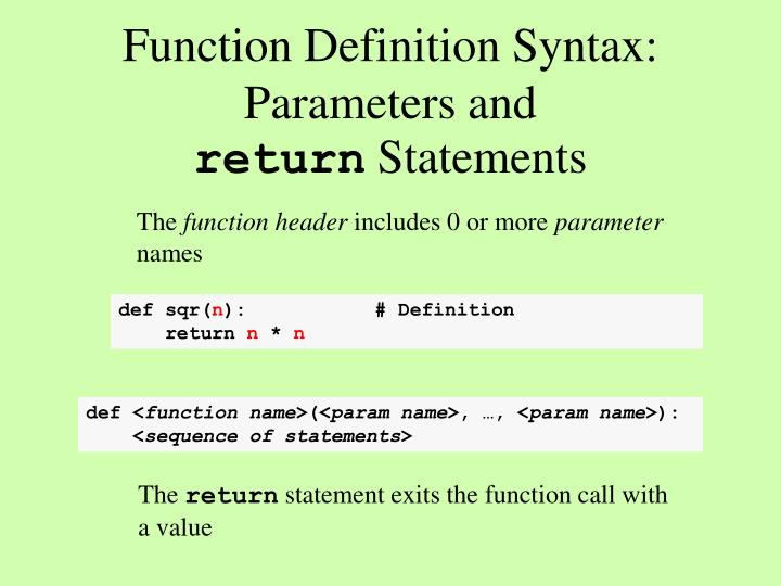 Function Definition Syntax: Parameters and