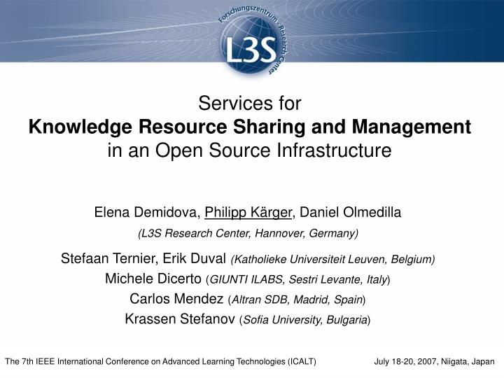 services for knowledge resource sharing and management in an open source infrastructure n.