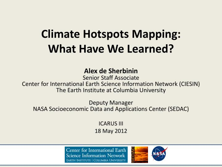 climate hotspots mapping what have we learned n.