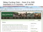 ilkley cycling club from 0 to 500 members in 4 months all online