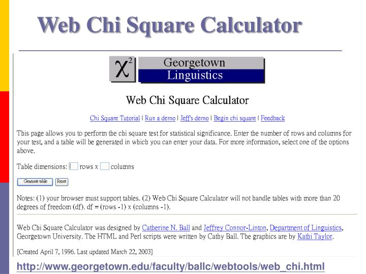 Web Chi Square Calculator
