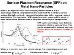 surface plasmon resonance spr on metal nano particles