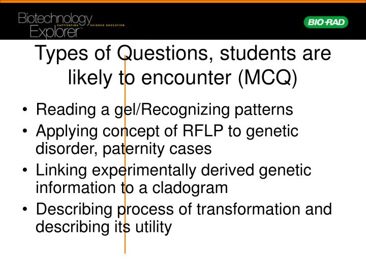 Types of Questions, students are likely to encounter (MCQ)