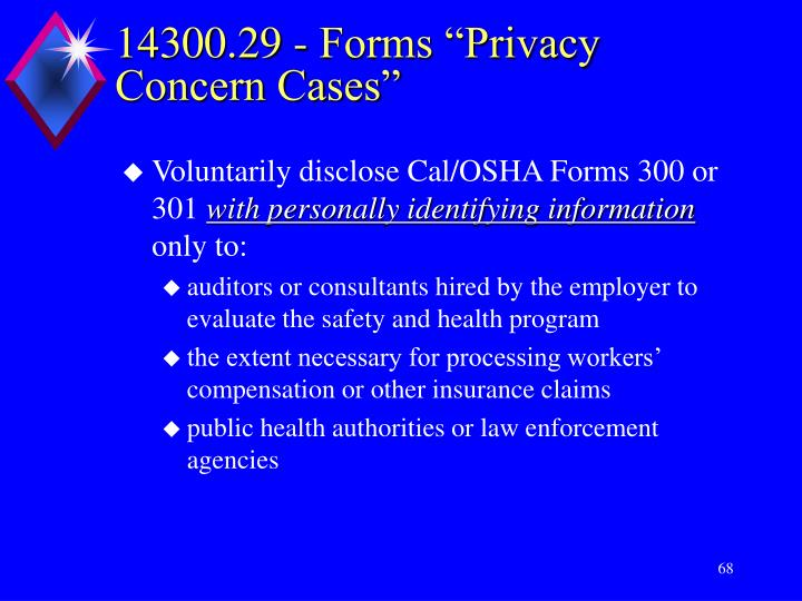 """14300.29 - Forms """"Privacy Concern Cases"""""""