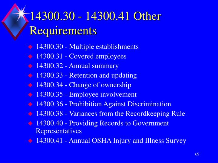 14300.30 - 14300.41 Other Requirements