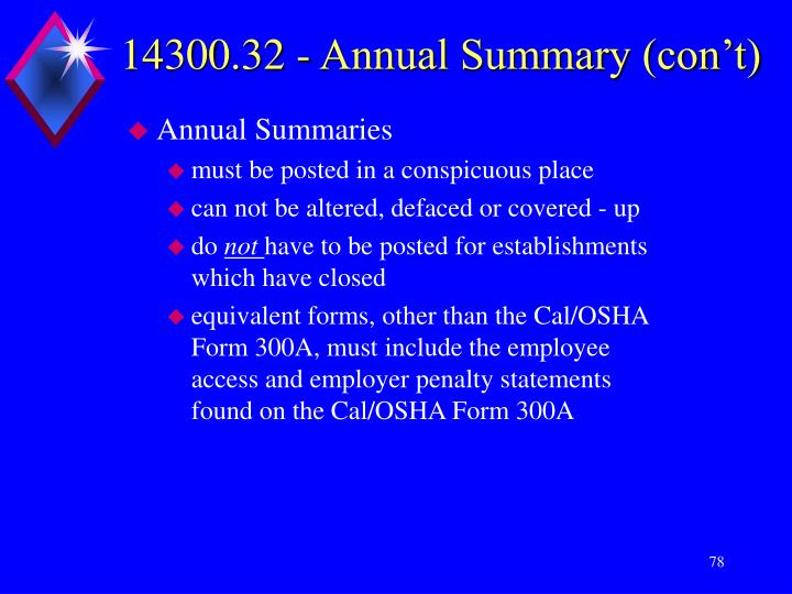 14300.32 - Annual Summary (con't)