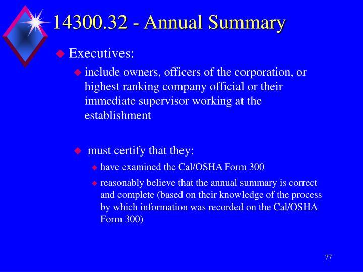 14300.32 - Annual Summary