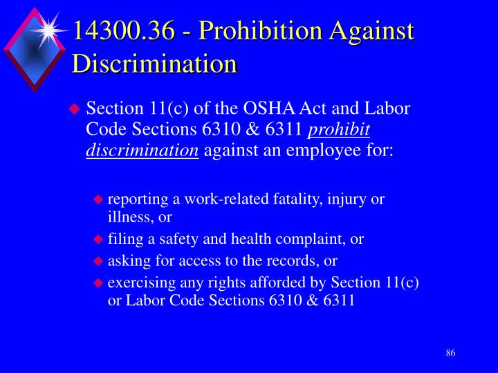 14300.36 - Prohibition Against Discrimination