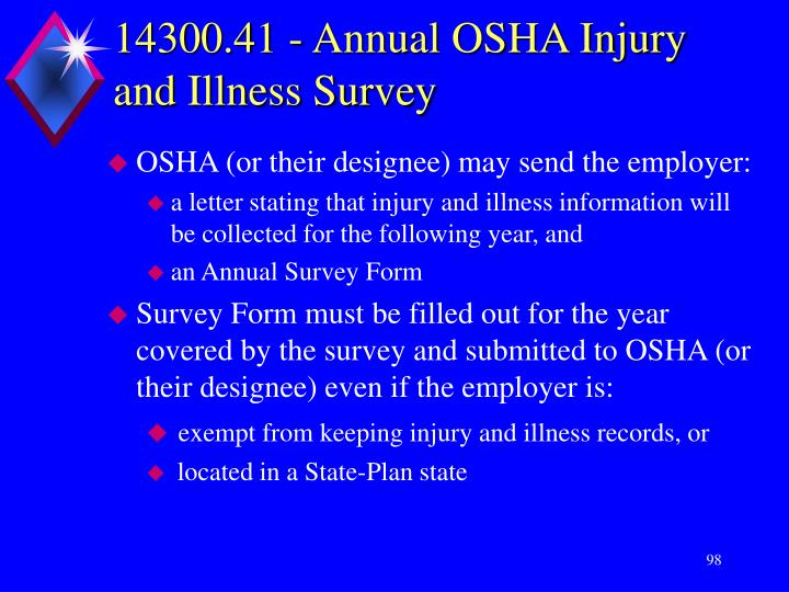 14300.41 - Annual OSHA Injury and Illness Survey