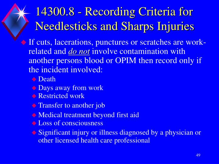 14300.8 - Recording Criteria for Needlesticks and Sharps Injuries