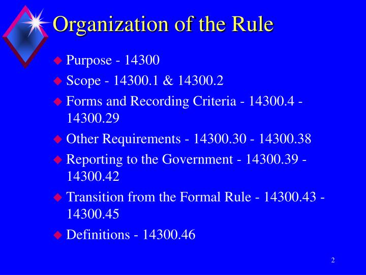 Organization of the rule