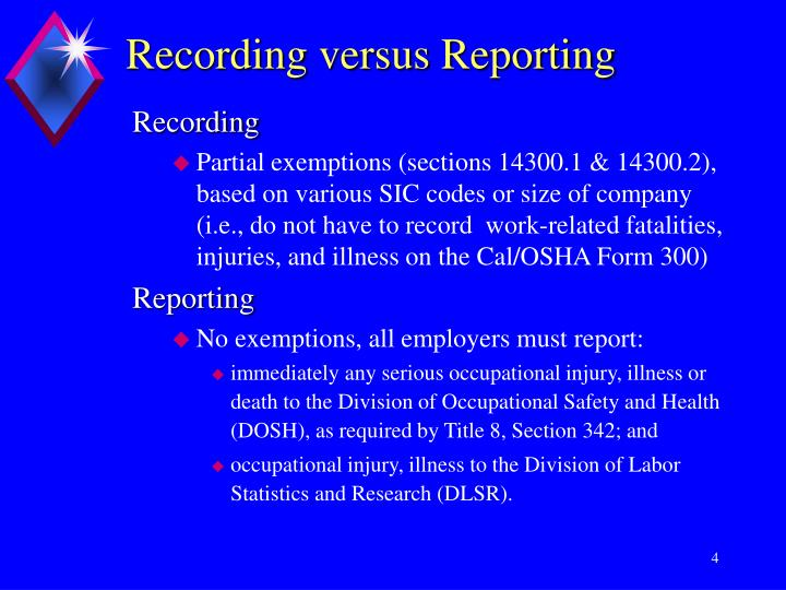 Recording versus Reporting