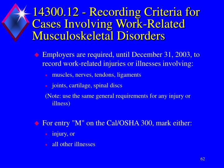 14300.12 - Recording Criteria for Cases Involving Work-Related Musculoskeletal Disorders